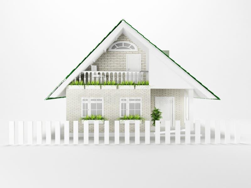 Trevligt hus på vit bakgrund royaltyfri illustrationer