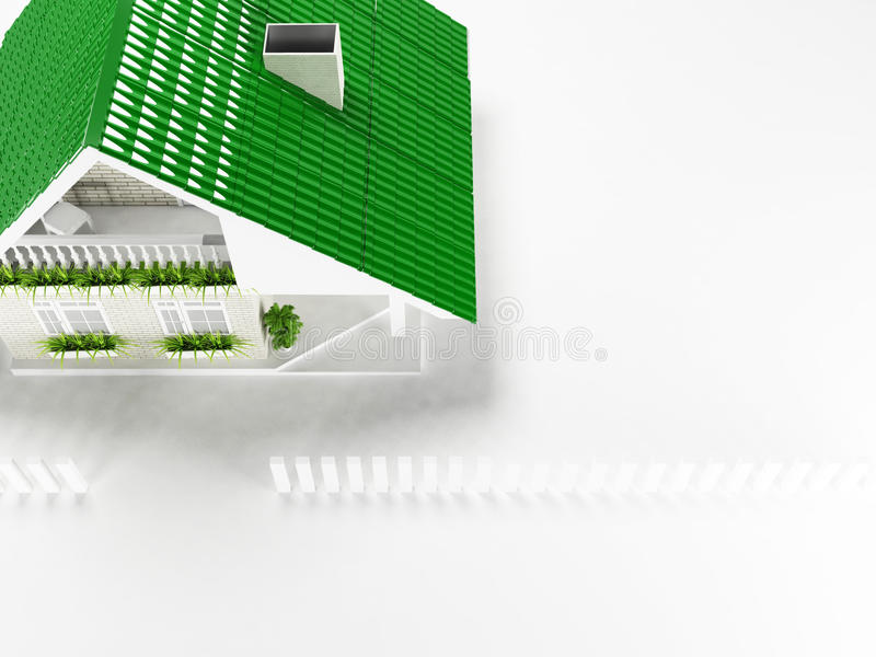 Trevligt hus på vit bakgrund, bästa sikt, vektor illustrationer