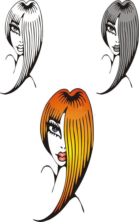 Trevligt huvud av kvinnan royaltyfri illustrationer