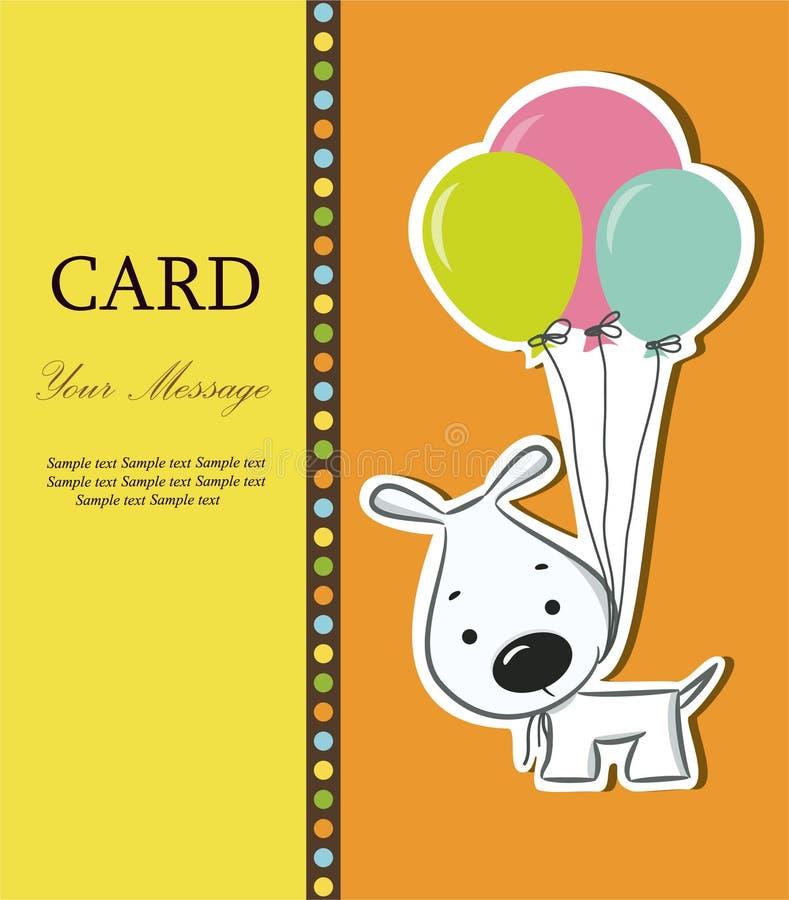 Trevligt kort med den roliga tecknad filmhunden royaltyfri illustrationer