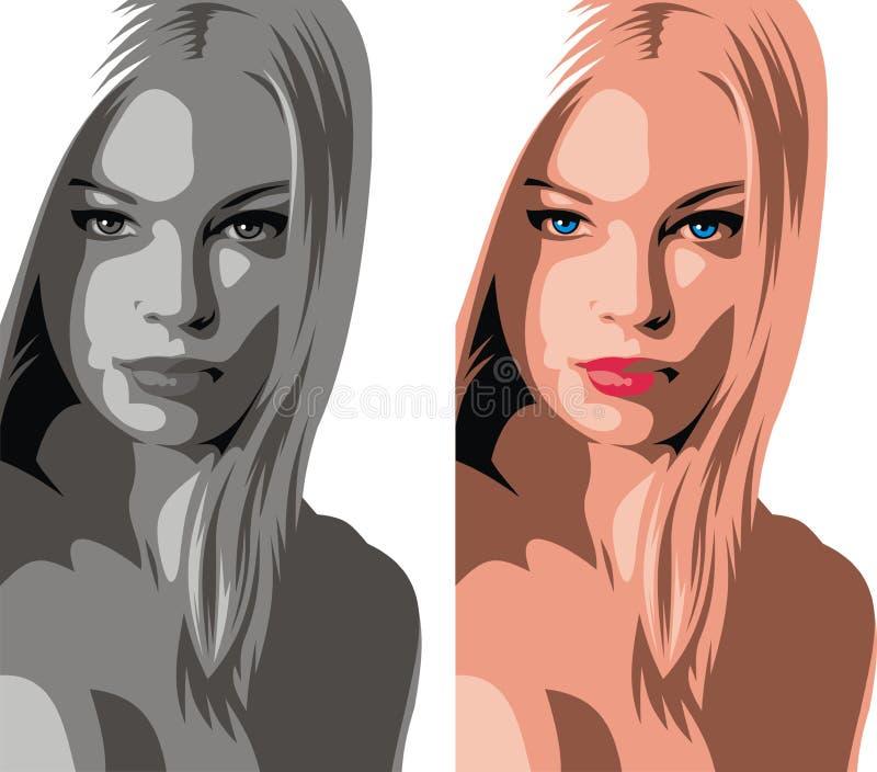 Trevligt kvinnahuvud från min dröm stock illustrationer