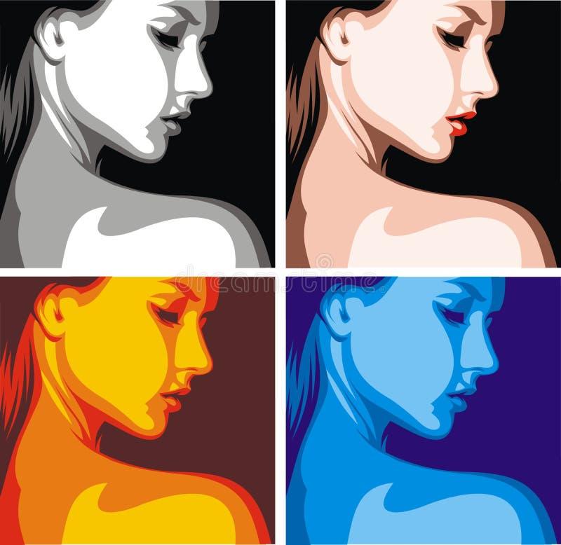 Trevligt kvinnahuvud i fyra färger stock illustrationer