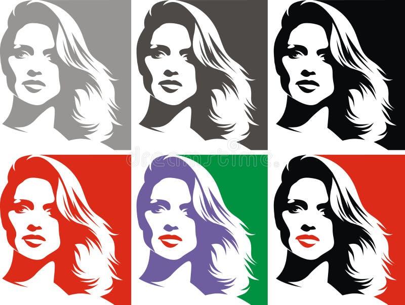 Trevligt kvinnahuvud i fyra färger royaltyfri illustrationer