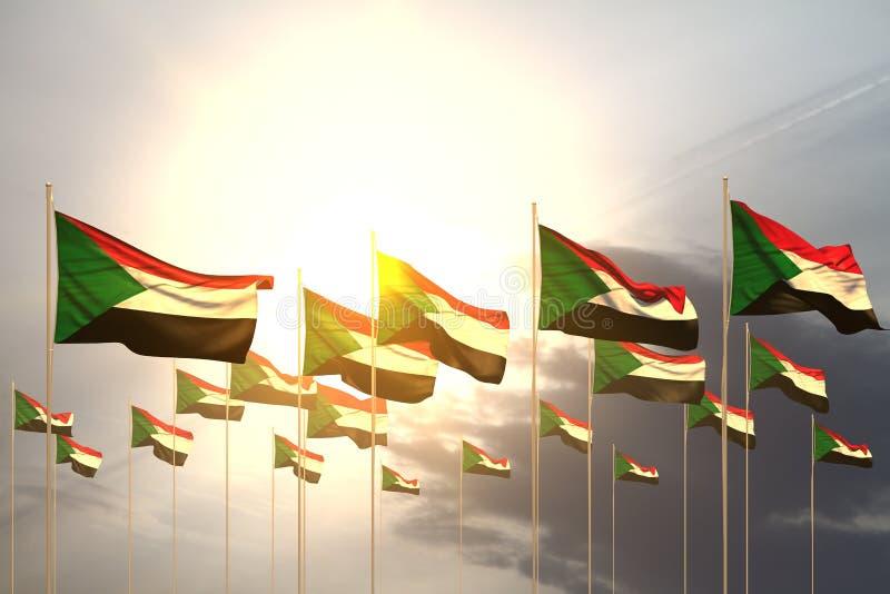 Trevligt många Sudan flaggor i rad på solnedgång med tomt utrymme för din text - någon illustration för festmåltidflagga 3d royaltyfri illustrationer