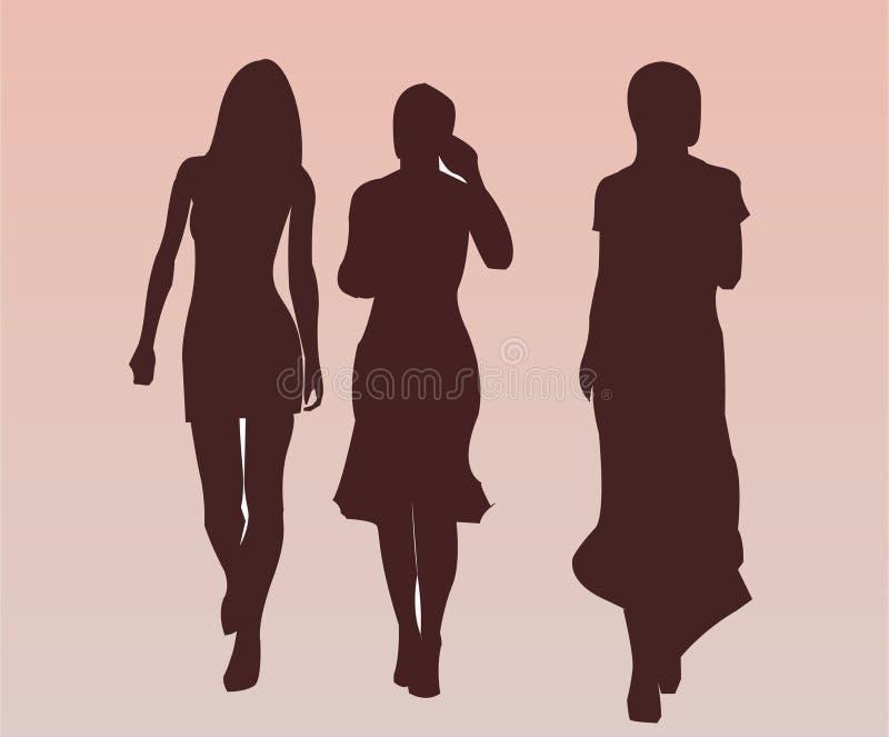 trevligt nätt gå för flickor royaltyfri illustrationer