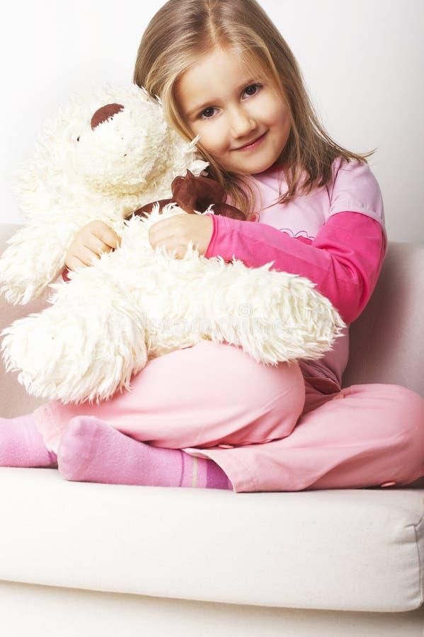 trevligt rosa barn för flicka arkivbilder