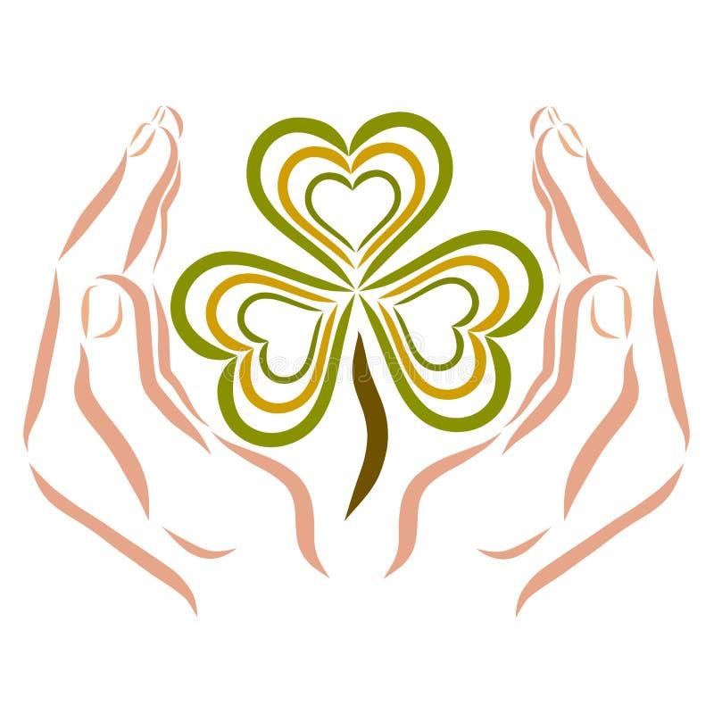Trevo com as três folhas sob a forma do coração nas mãos de inquietação ilustração stock