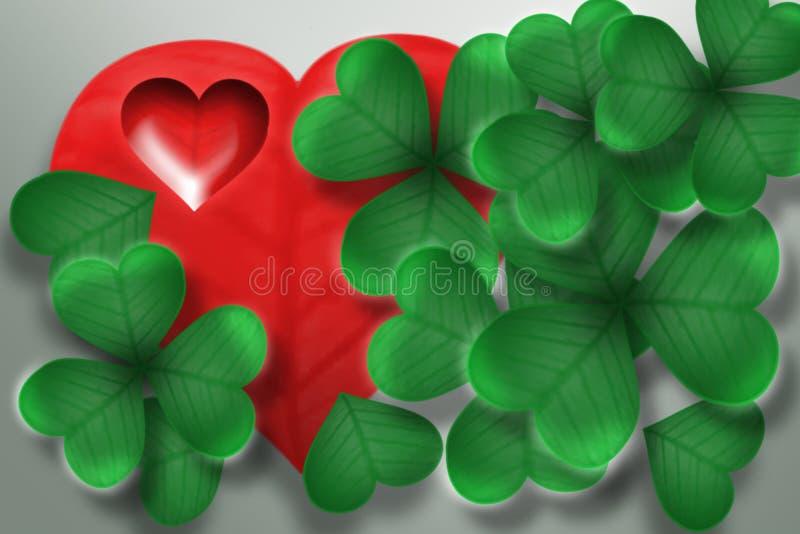 Trevo - coração fotografia de stock
