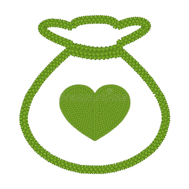 Trevo da folha do verde quatro do coração no ícone do saco do dinheiro ilustração stock