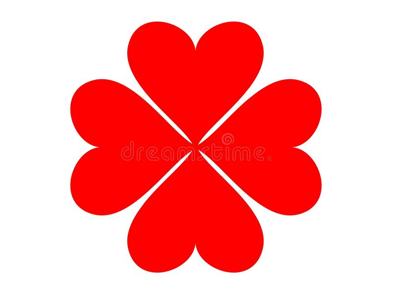 Trevo do coração de quatro folhas ilustração stock