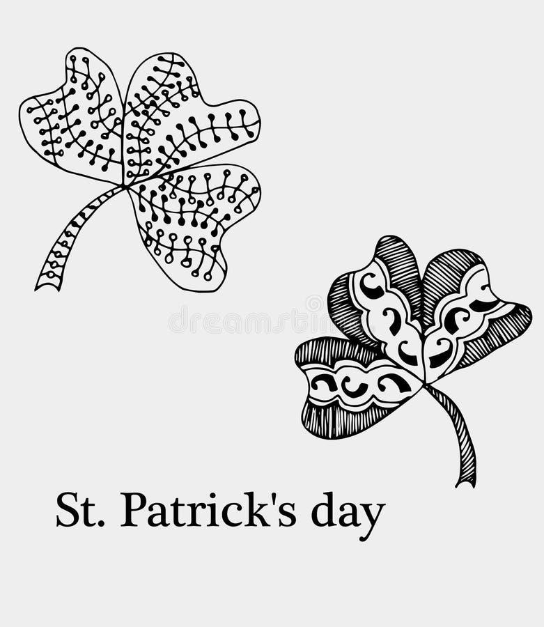 Trevo do livro para colorir, no dia de St Patrick Teste padrão isolado Sorte tirada mão do sinal do vetor Boêmio étnico do anti e ilustração royalty free