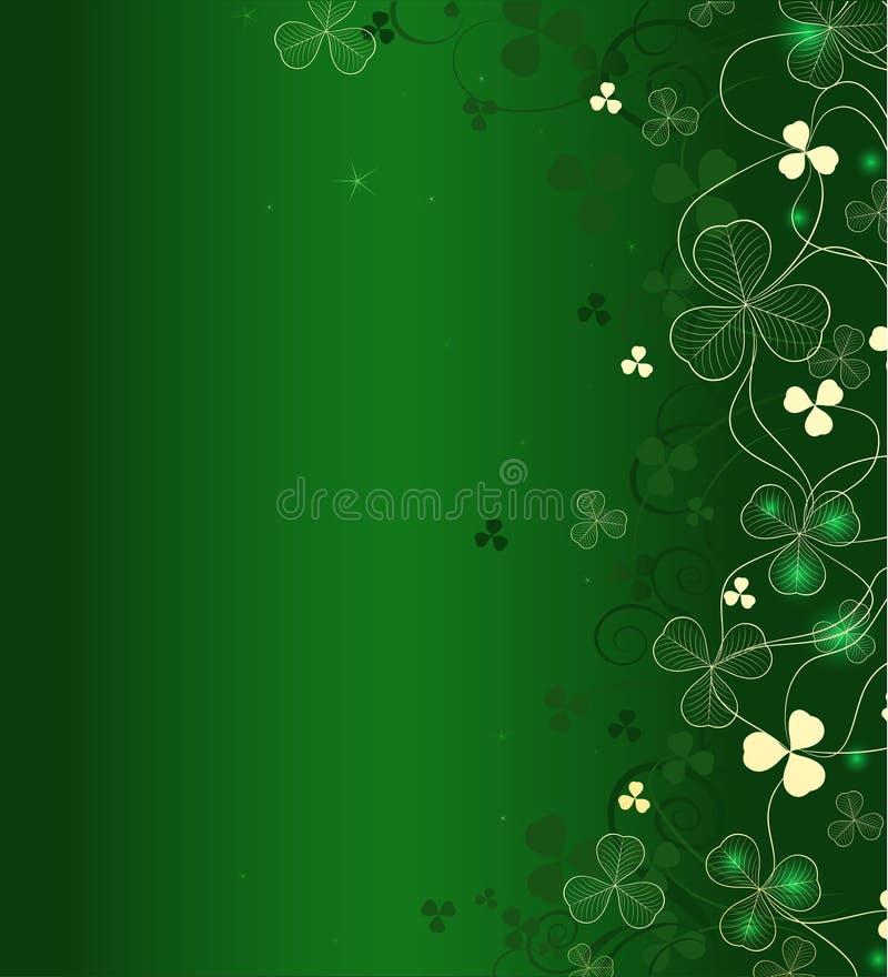 Trevo dourado da folha no fundo verde ilustração do vetor