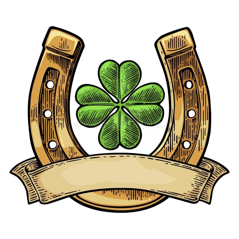 Trevo e ferradura da folha da boa sorte quatro com fita ilustração royalty free