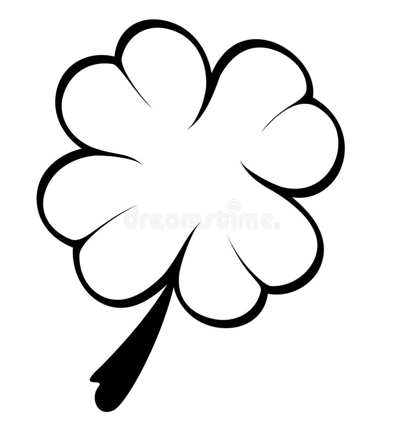 Trevo preto e branco de quatro folhas