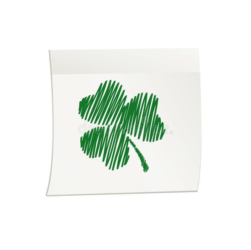 Trevo verde desenhado à mão na etiqueta e no bloco de notas brancos Ilustração do vetor no fundo branco ilustração royalty free