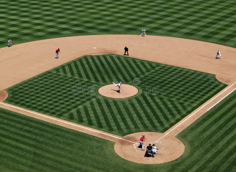 Trevor Cahill throwing a pitch runner on second royalty free stock photo