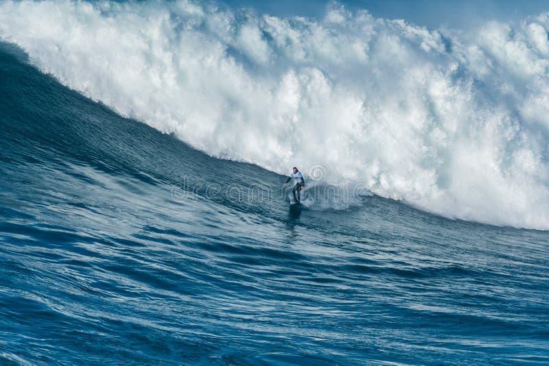 Trevor Carlson HAW. NAZARE, PORTUGAL - DECEMBER 20, 2016: Trevor Carlson HAW during the Nazare Challenge 2016 - Big Wave Tour #3 at Praia do Norte - Nazare royalty free stock photos