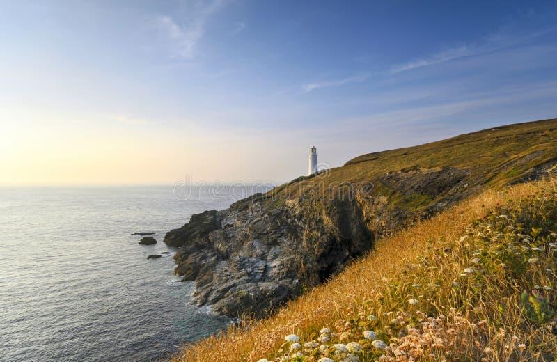 Trevose Hoofdvuurtoren in Cornwall stock foto