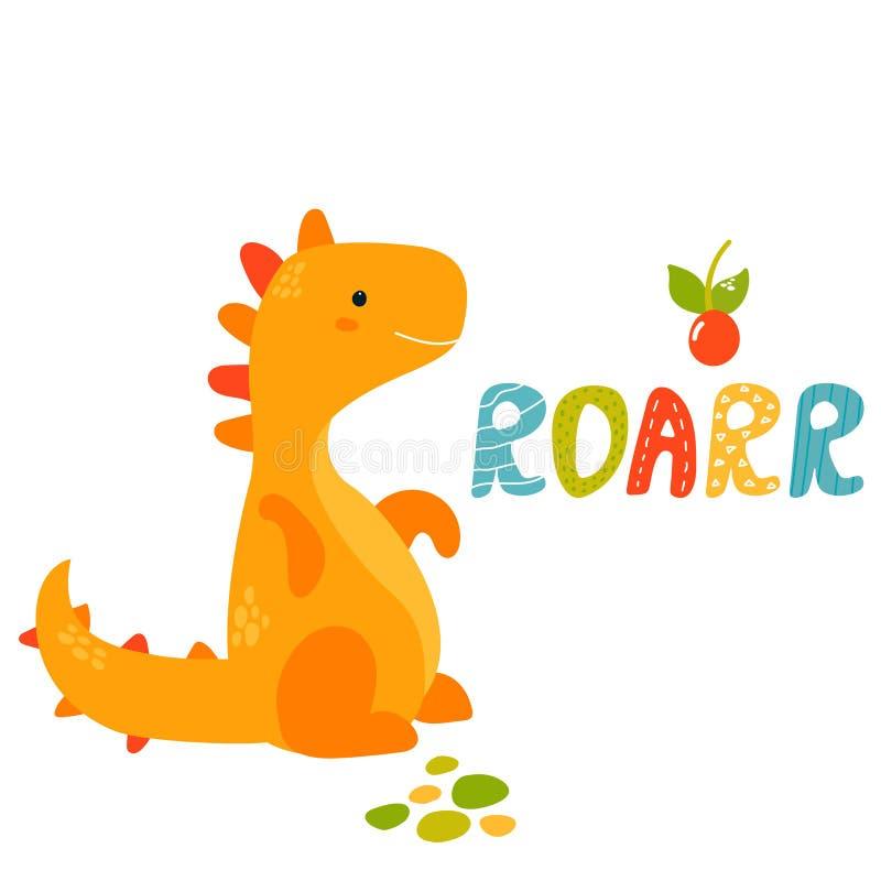 Trex jaune mignon Dino Carte de voeux de Roarr illustration libre de droits