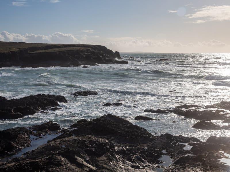 Treyarnon Bay Cornwall England arkivfoto