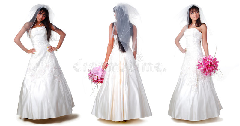 Trhee brides royalty free stock photography