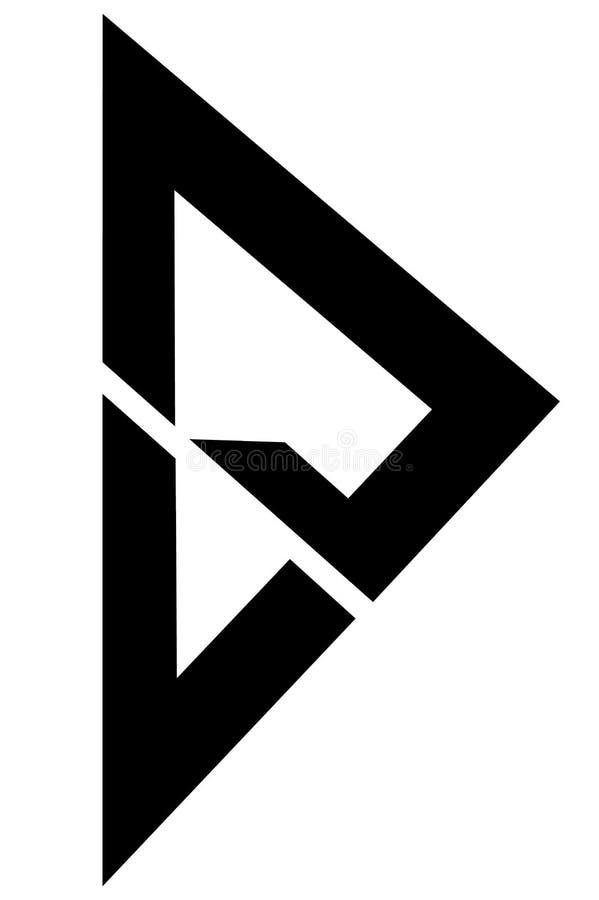 Triángulo con tres la línea logotipo ilustración del vector