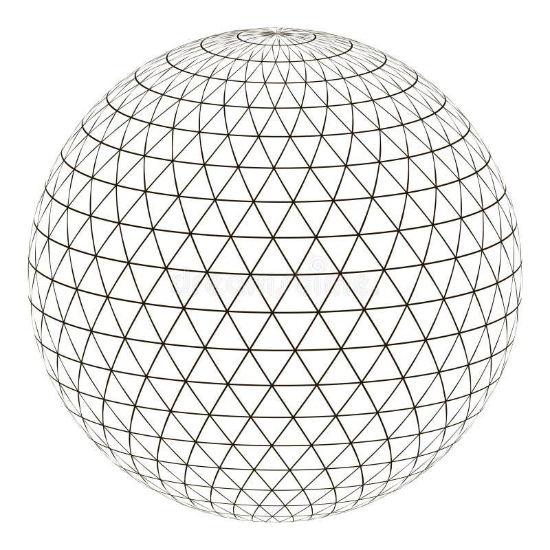 Triángulo de la rejilla de la esfera de la bola en la superficie, tierra del planeta del globo de la disposición del vector con u stock de ilustración