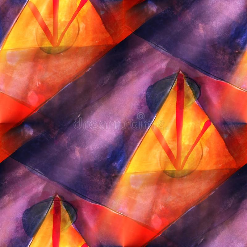 Triángulo del arte, rojo, costura ligera azul de la acuarela de la textura del fondo ilustración del vector