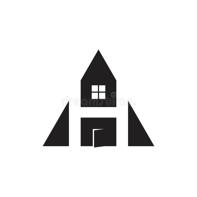 Triángulo del hogar de la letra h con vector del logotipo de la puerta stock de ilustración