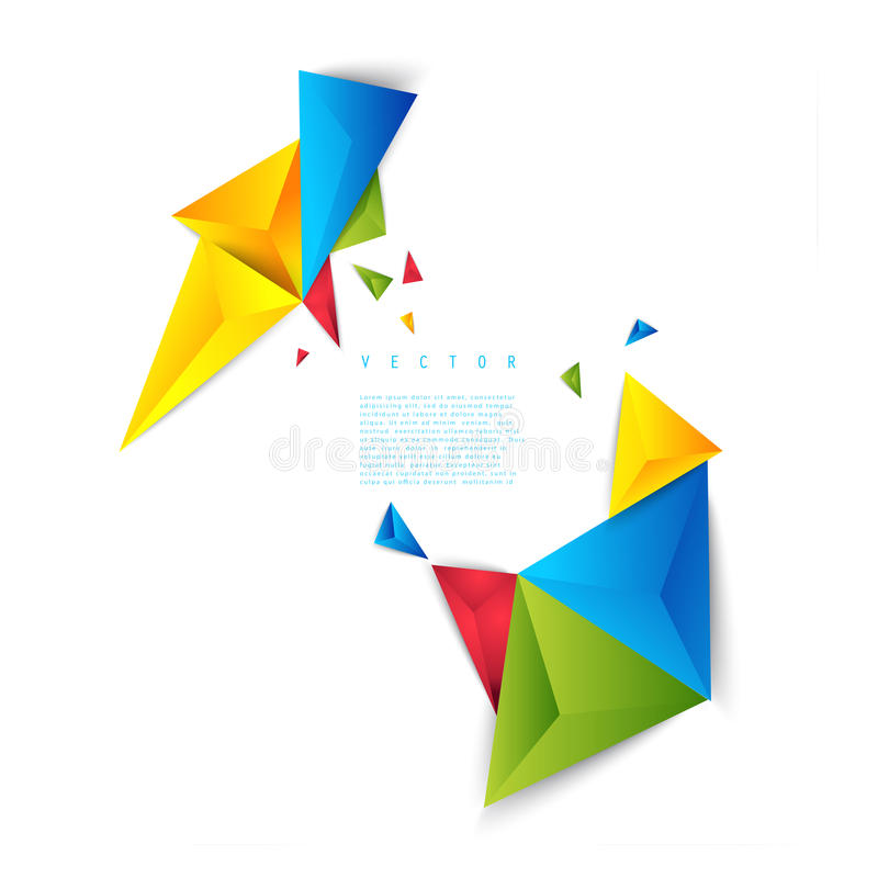 Triángulo del polígono del extracto del fondo del color del vector stock de ilustración