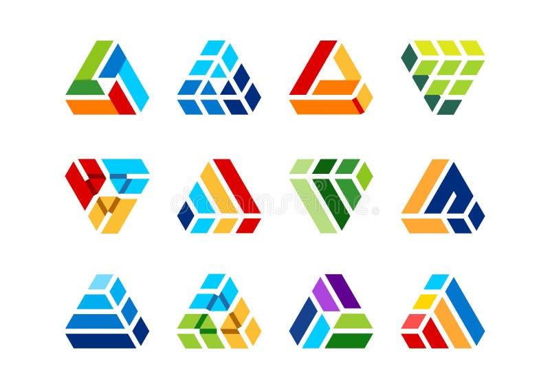 Triángulo, elemento, edificio, logotipo, construcción, casa, arquitectura, propiedades inmobiliarias, hogar, elementos ilustración del vector