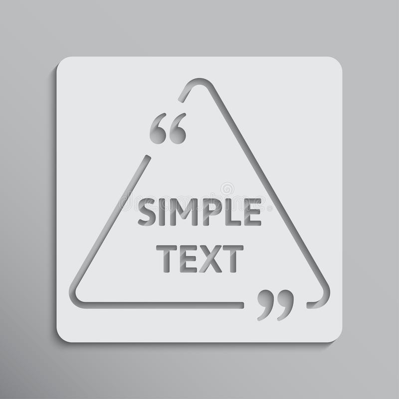 Triángulo en blanco de la cita del vector de la plantilla con el soporte ilustración del vector