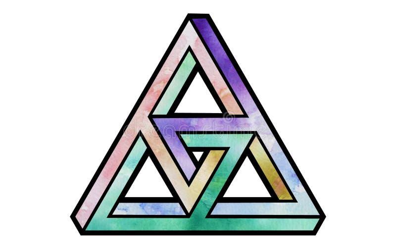 Triángulo imposible llenado acuarela de la forma foto de archivo