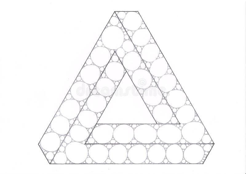 Triángulo imposible llenado de elipses y de círculos libre illustration