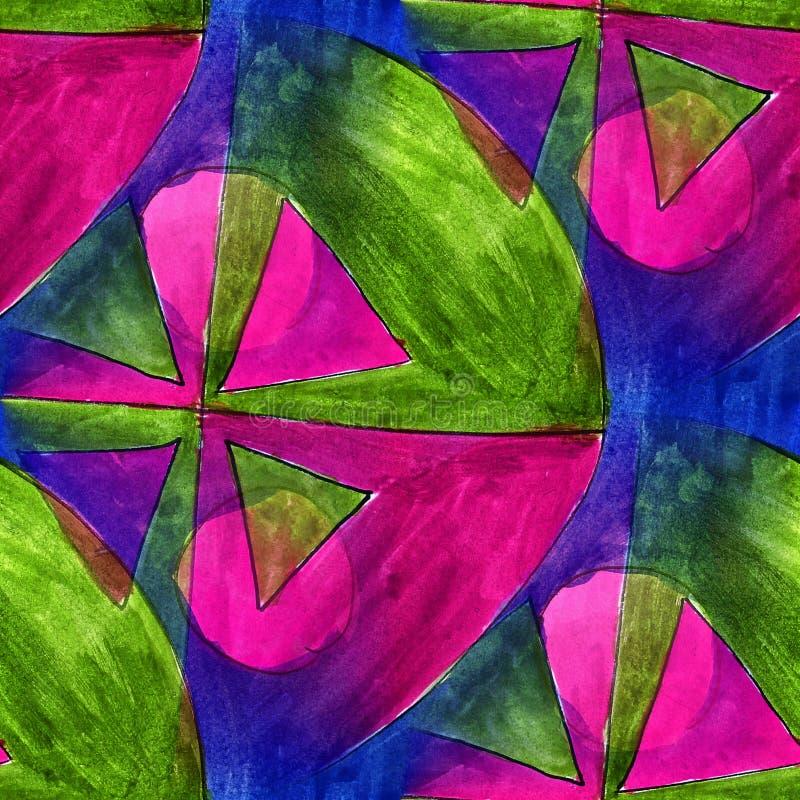 Triángulo inconsútil, verde, wallpap ligero violeta del artista de la acuarela stock de ilustración