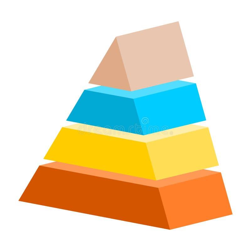 Triángulo Infographics de los pasos de la pirámide cuatro ilustración del vector