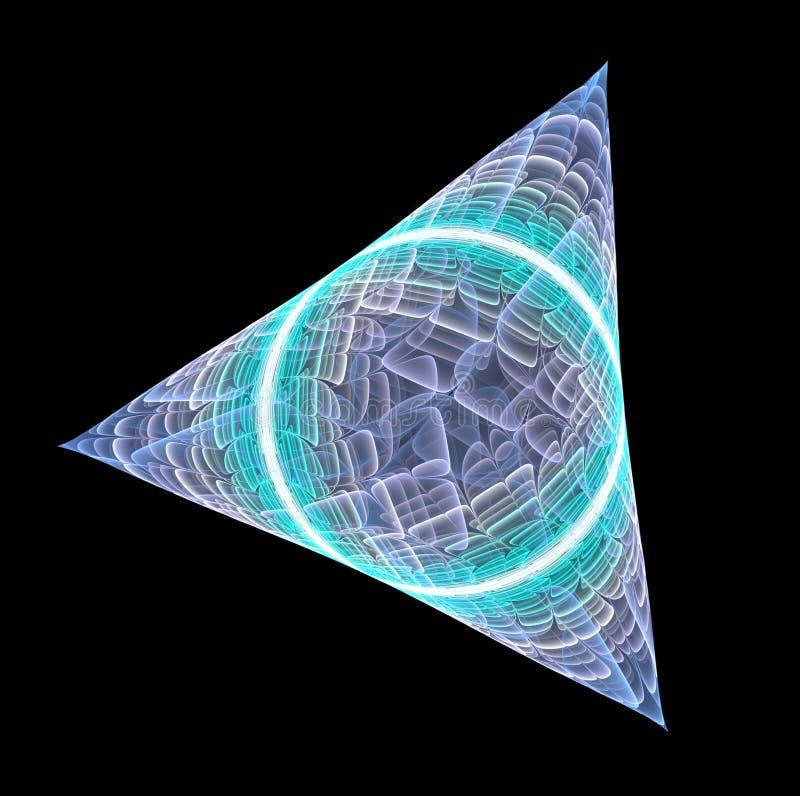 Triángulo ligero abstracto del fractal con el círculo dentro en fondo negro stock de ilustración