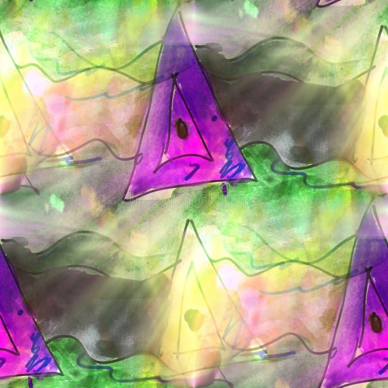 Triángulo ligero del arte, verde, acuarela violeta de la textura del fondo libre illustration