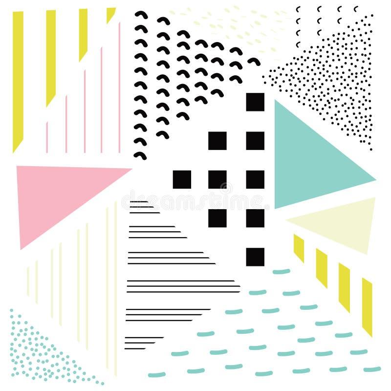 Triángulo linear Doted geométrico del extracto, tejas elegantes con diverso ornamento, ejemplo retro ilustración del vector