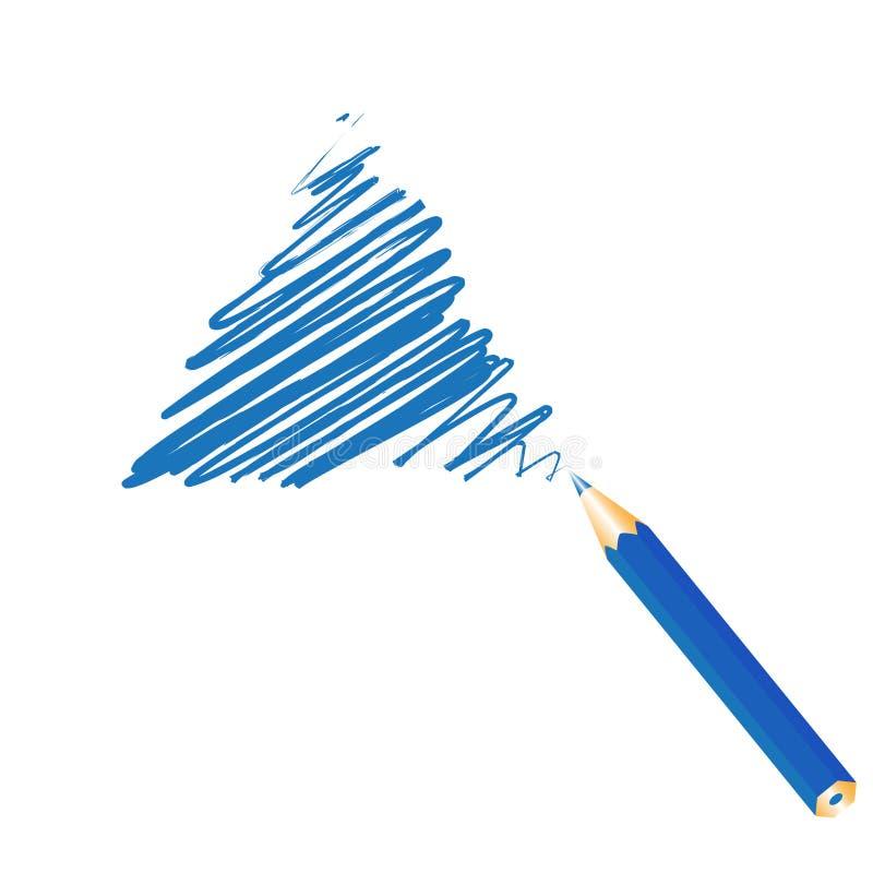 Triángulo manuscrito azul ilustración del vector