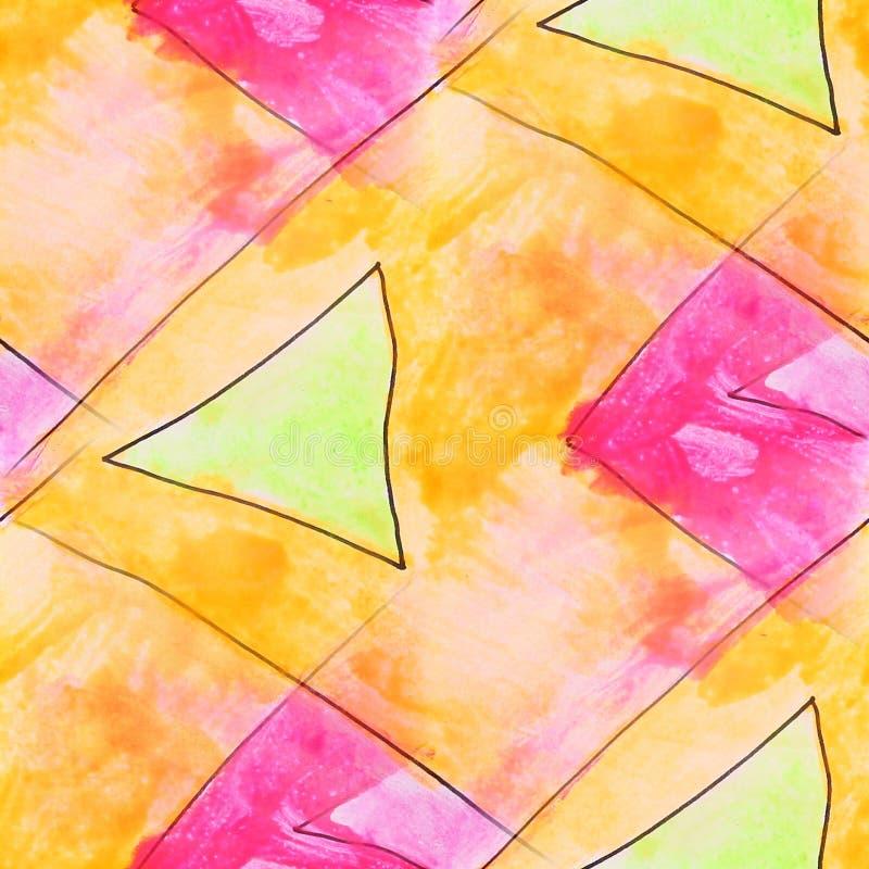 Triángulo moderno, amarillo, wallpap inconsútil rosado del artista de la acuarela libre illustration