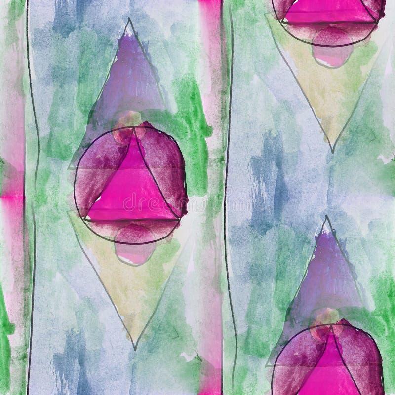Triángulo moderno, círculo, wallpap inconsútil rosado del artista de la acuarela libre illustration