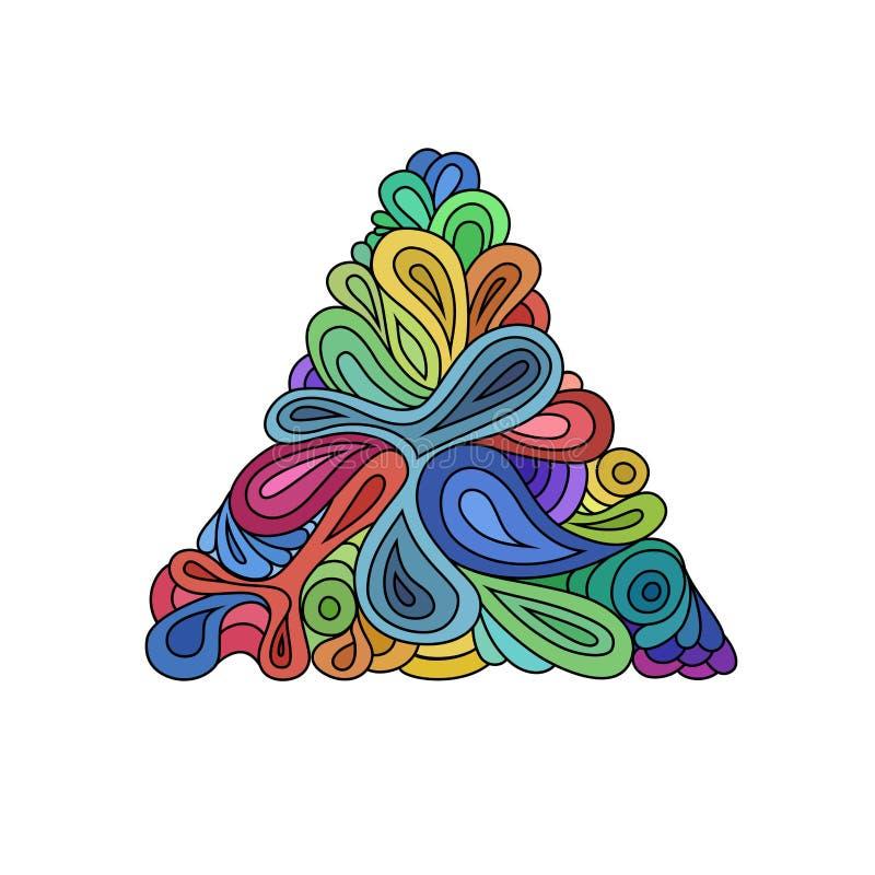 Triángulo ondulado del inconformista Triángulo a mano compuesto de ondas y de curvas en el fondo blanco Inconformista retro color libre illustration