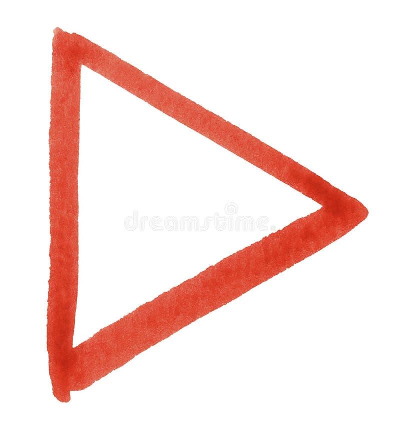 Triángulo rojo del watercolour imágenes de archivo libres de regalías