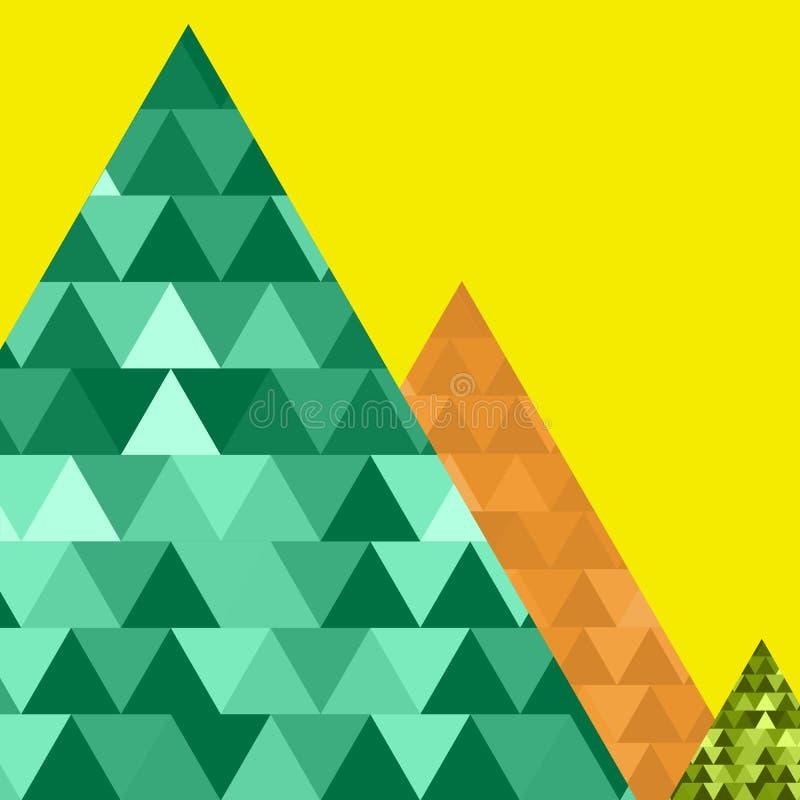 Triángulo verde determinado de la montaña del vector, verde, naranja, amarillo, azul libre illustration