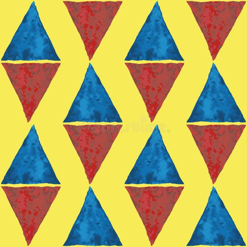 Triángulos azules y rojos de forma diamantada de la acuarela Modelo inconsútil del vector geométrico abstracto en fondo amarillo  libre illustration