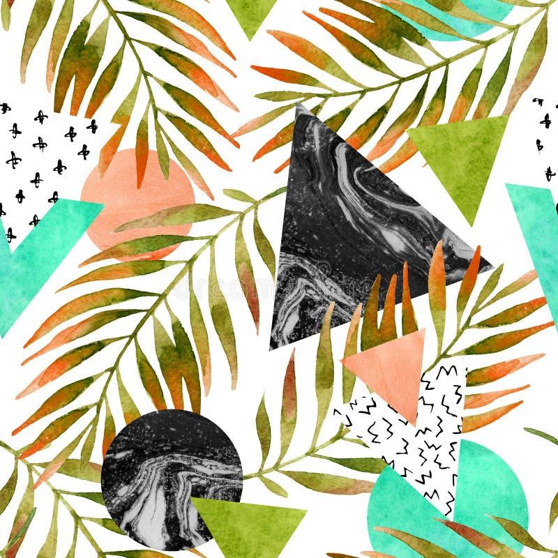 Triángulos, círculos con la hoja de palma de la acuarela, texturas de mármol del grunge libre illustration