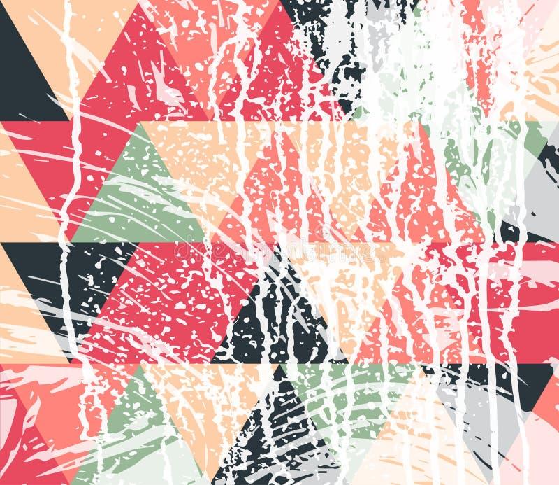 Triángulos coloreados pastel con los movimientos blancos de la pintura stock de ilustración
