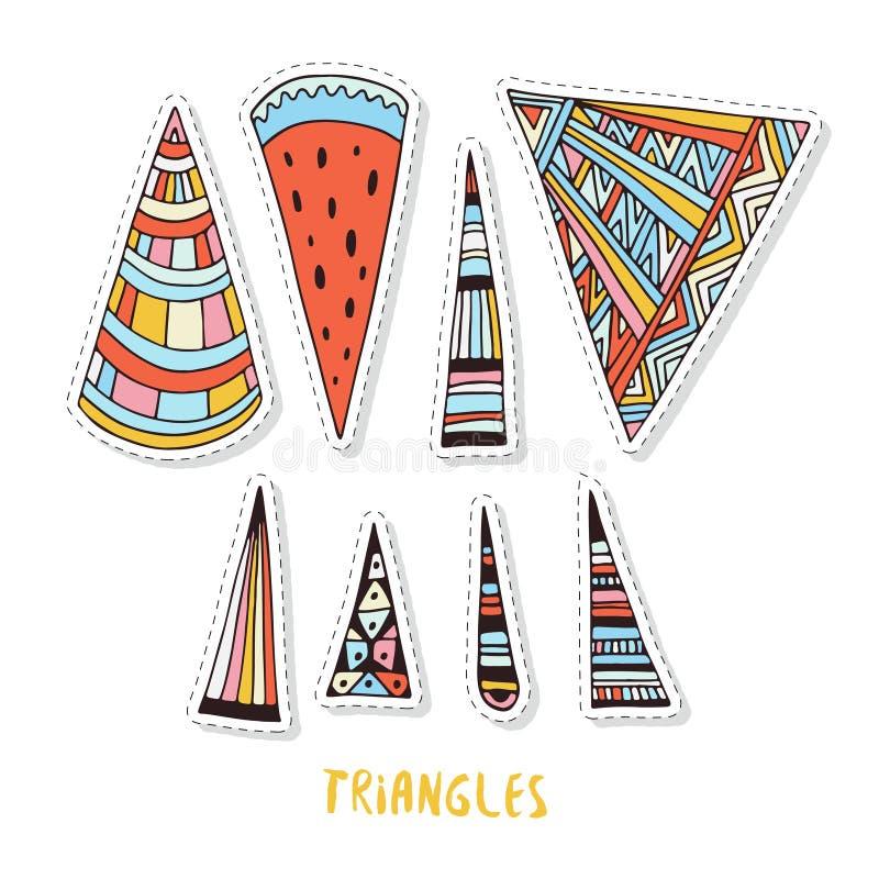 Triángulos coloridos fijados Garabato geométrico y ornamental fijado para las etiquetas engomadas, los remiendos o las impresione libre illustration