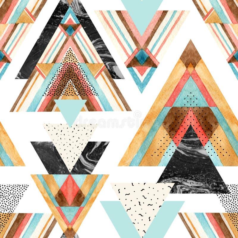 Triángulos con el ornamento azteca, acuarela, garabato, texturas negras del mármol ilustración del vector